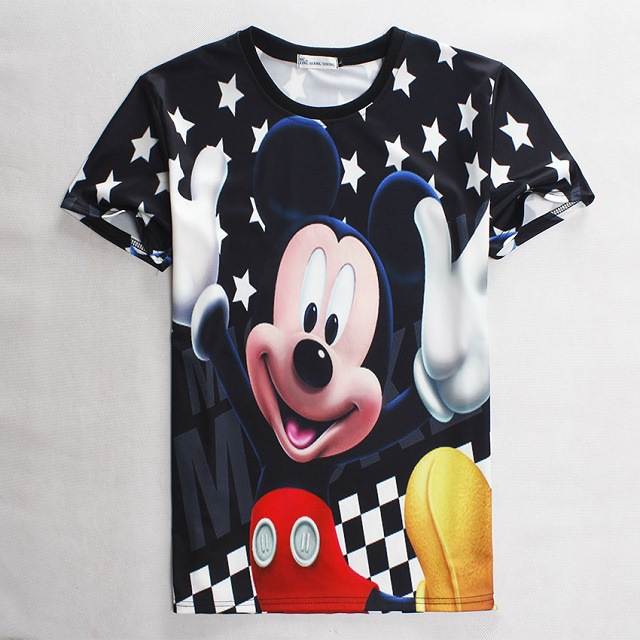 Fashion 3D Print T-shirt Mickey Summer Cotton Tee Shirts Short Sleeve Print Casual Homme Mouse Loose Unisex Tops Minnie()