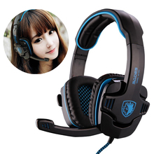 Wholesale Hot 2015 Free Shipping Sades 901 Game Headphone 7.1 Surround USB Gaming Headset Earphone with Microphone for PC Gamer