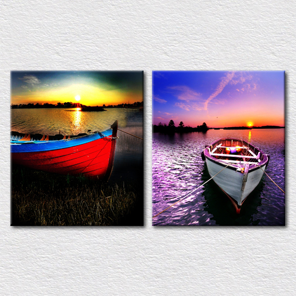 Colorful scenery paint modern picture printed canvas boat painting for living room wall decoration reproduction artwork(China (Mainland))