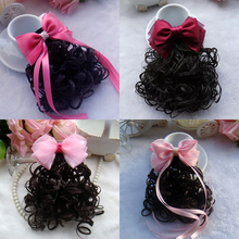 Buy 1 PCS Fashion Baby Bowknot Wavy Ponytail Wigs Hair Clips Hairpiece Girls Hairpins Children Hair Accessories Princess Hairgrips for $1.90 in AliExpress store