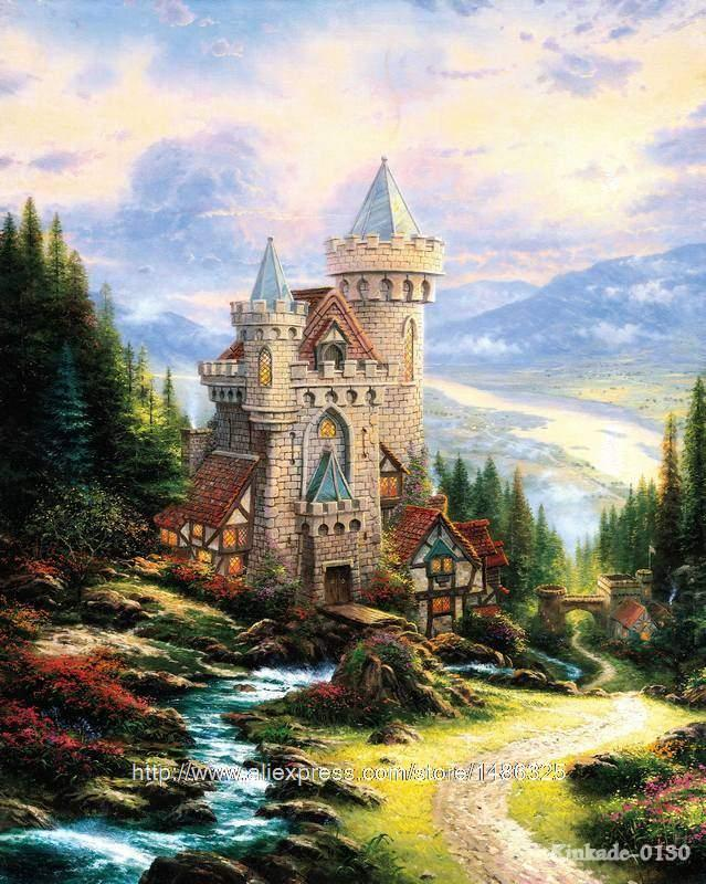 Thomas Kinkade Prints Guardian Castle Wall Pictures For Living Room Daughter Gift Wall Decor Spray Graphic Art Canvas Painti(China (Mainland))