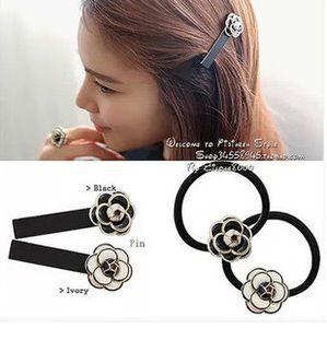NEW!! Fashion CC Camellia Hair Pins Elastic Tiaras Hair Bands Brand Headwear Hair Accessories Hair Jewelry F7082K(China (Mainland))