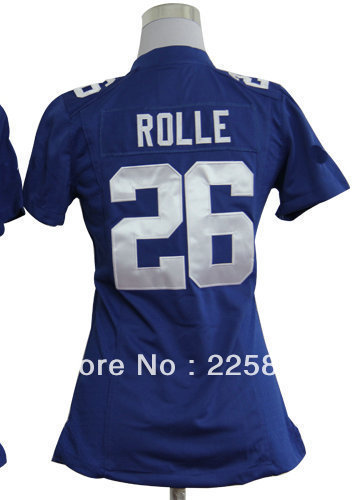 Free shipping High Quality Authentic Women's American Limited Football Jersey #26 Antrel Rolle Blue Jersey All Stitched(Sewn on)(China (Mainland))