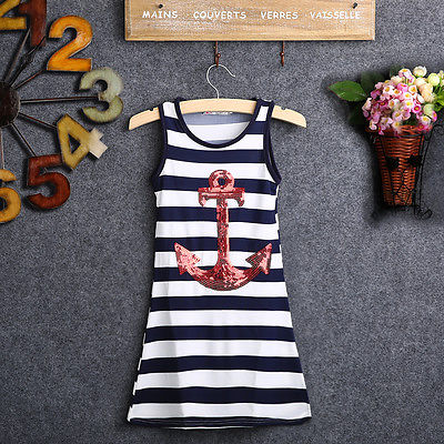 2015 New Fashion Kids Girls Sequins AnchorNavy Stripes Party Dress Maxi Sundress 3-8Y<br><br>Aliexpress