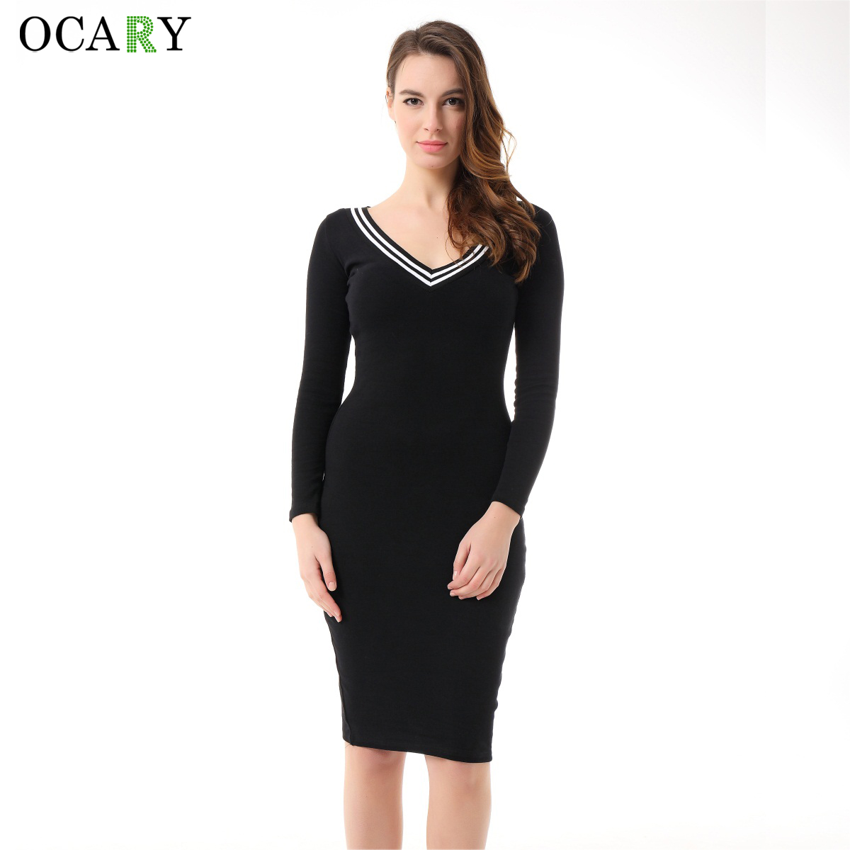 Ocary brand quality women casual shirt dress sexy bodycon for Dress shirt with sweater