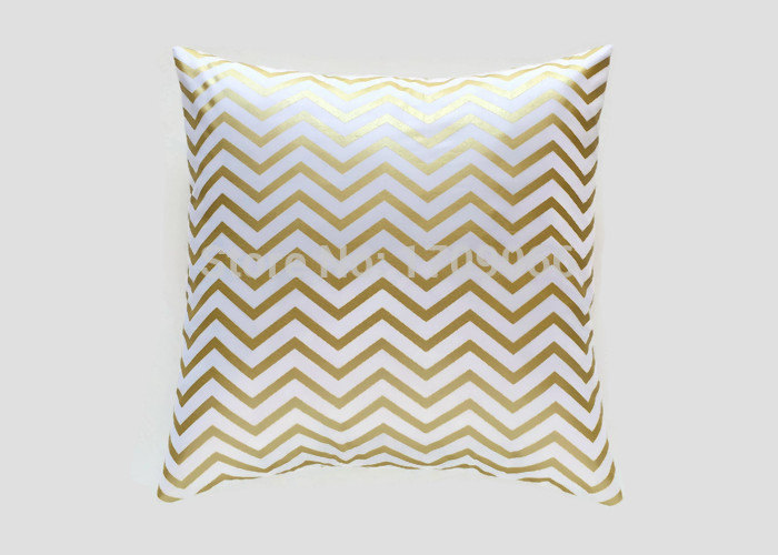 Metallic Gold Foil Printing Chevron Decorative Throw Pillow Cover 18x18 Inches ZigZag Canvas ...