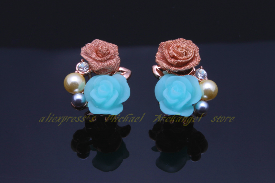 Fashion arrival 18 k rose gold plated Earrings pearl flowers party New Romanticism Stud - Michael Archangel store
