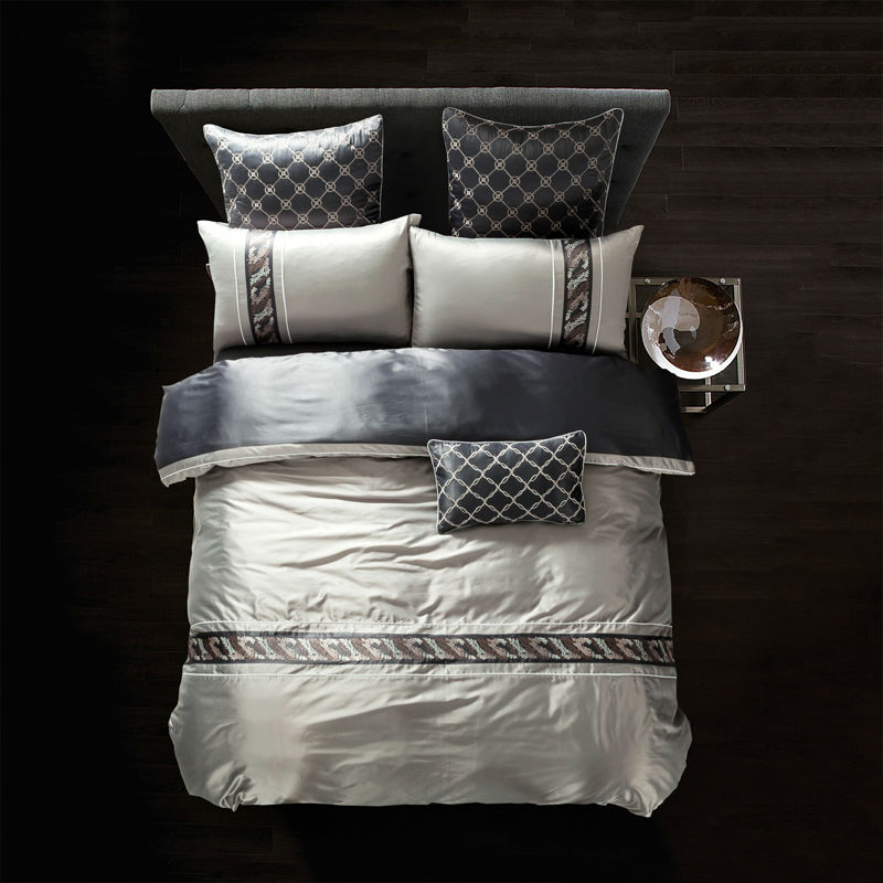 high end simple style duvet cover set silver light gray linens silk bamboo fiber queen king size. Black Bedroom Furniture Sets. Home Design Ideas