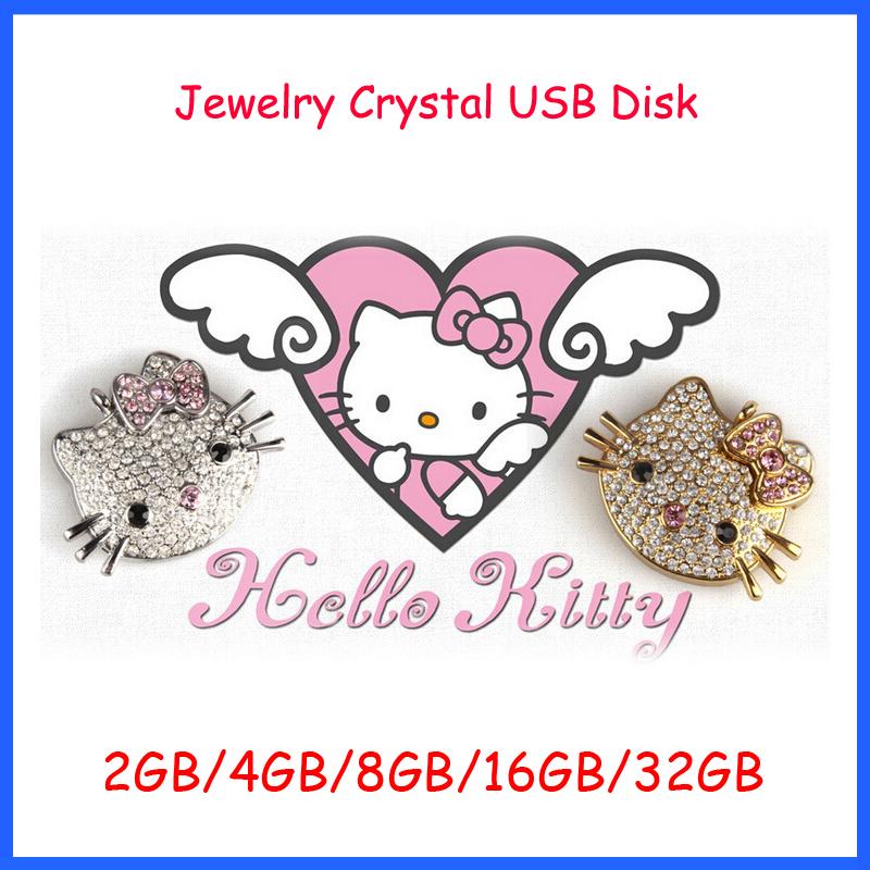 Free Shipping ! Jewelry Crystal Hello Kitty USB Flash Drive High Speed usb2.0 2GB 4GB 8GB 16GB 32GB Flash Memory Stick(China (Mainland))