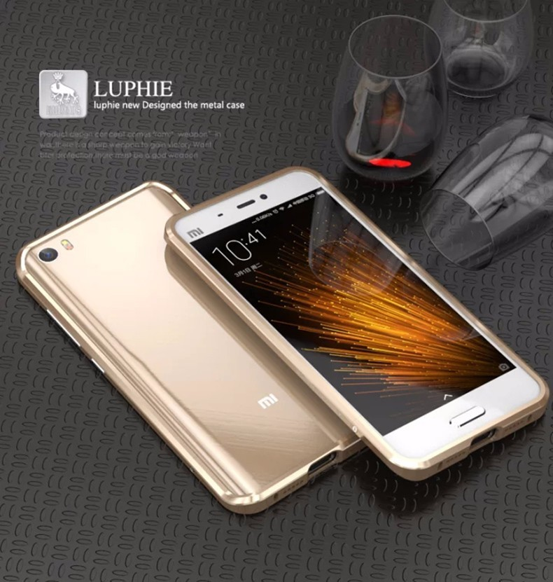Original LUPHIE Aluminum Bumper for Xiaomi mi5 Phone Cases Covers Protecetive Metal Frame Cell Phone Accessories