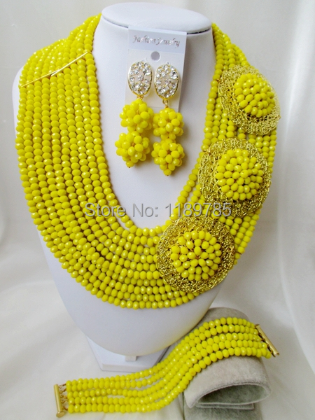 Fashion Nigerian African Wedding Beads Jewelry Set , Yellow Crystal Necklace Bracelet Earrings Set A-8615<br><br>Aliexpress