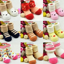 Best Selling 0-24 Months Winter Cotton Baby Cartoon Sock Thick Warm Animal Terry Socks for Children