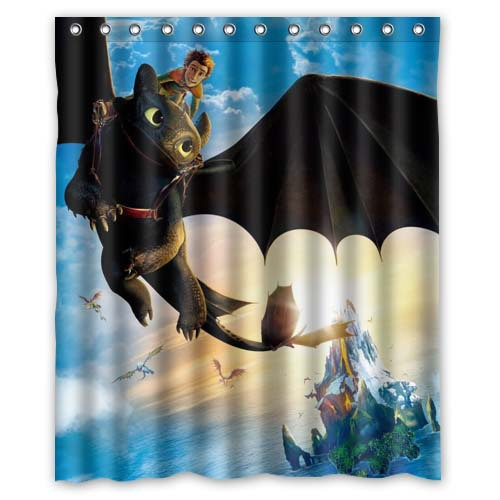 Custom How To Train Your Dragon Cartoon Shower Curtain Waterproof Polyester Fabric Shower Curtain 12 Holes Size 60x72 inch(China (Mainland))