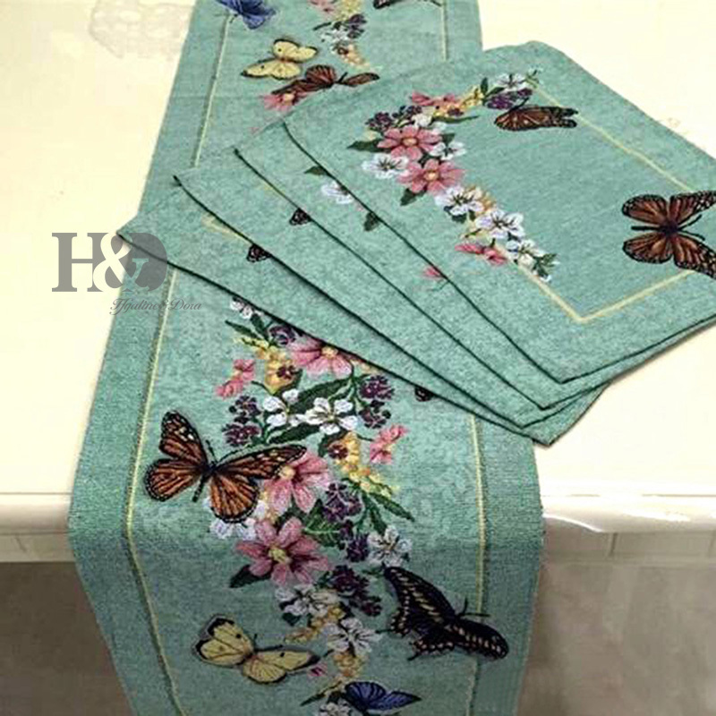 Butterfly Countryside Flowers Table Cloth Elegant Show For Guests Tablecloth Table Runner Placemat Wedding Party Decoration(China (Mainland))