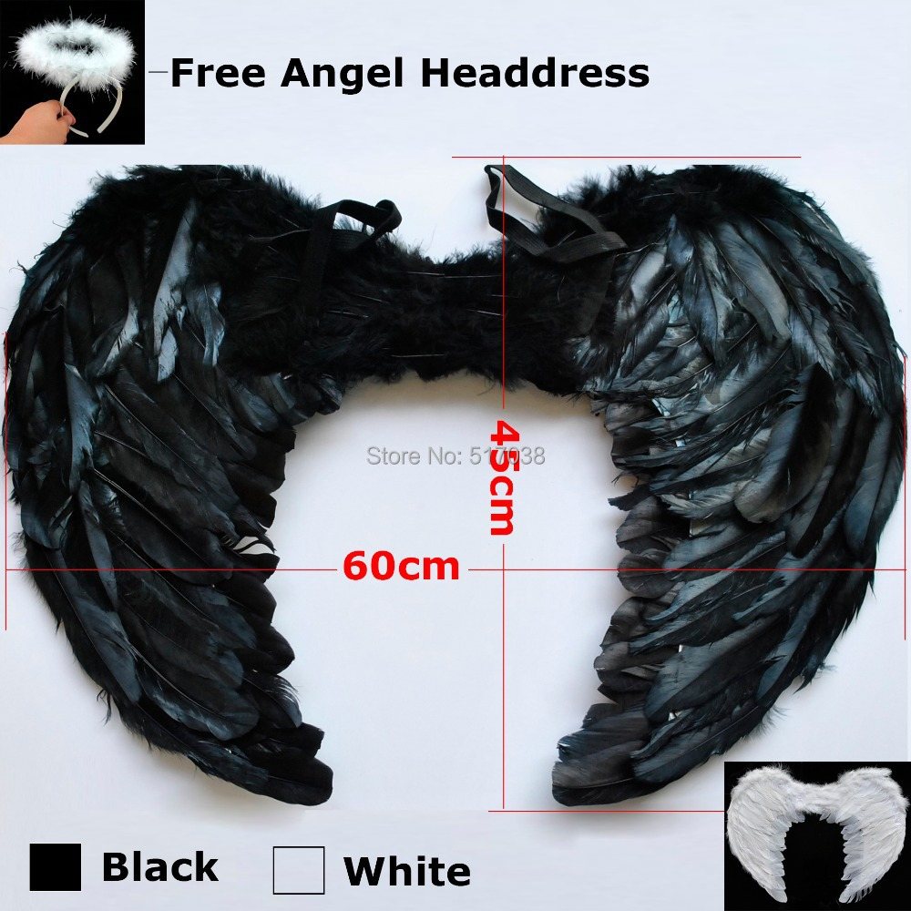 Large 60*45cm Feather White Black Halloween Sexy Dark fallen Angel wings costumes with Headdress for adult women kids nightclub(China (Mainland))