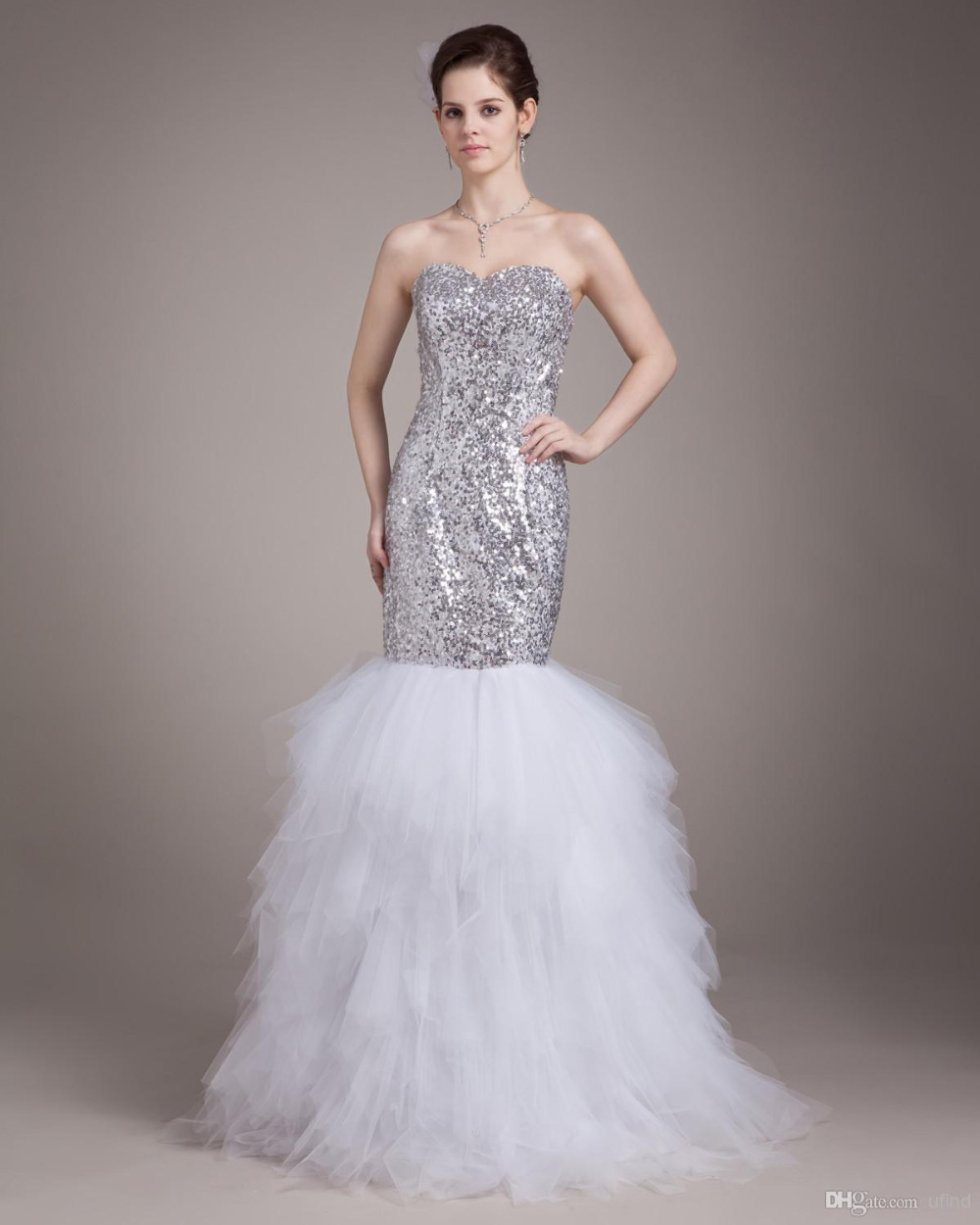 2015 gorgeous sweetheart silver sequin fitted mermaid for Fitted mermaid wedding dresses