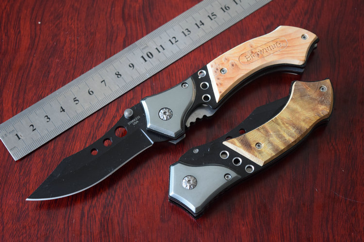 12pcs lot Oem Browning Three Eye Stainless Steel Folding Knife Camping survival tool hunting Knives wood