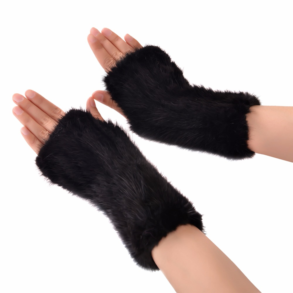 1 Pair Elegant Women Fashion Thick Real Fur Warm Winter Gloves Black Fingerless Soft Knit Glove High Quality(China (Mainland))