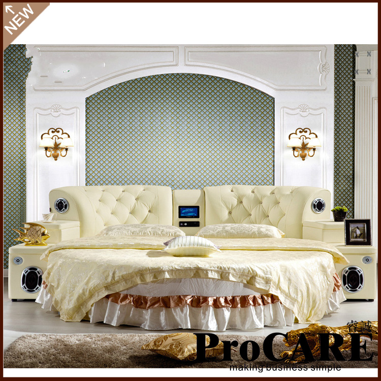 high quality comfortable bed room furniture round bed double bed(China (Mainland))