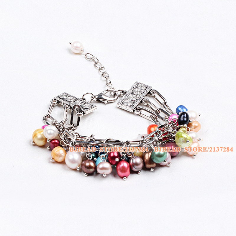 Multi Color Multi Strand Natural Freshwater Pearl Charm Bracelet With Lobster Clasp And Adjustable Chain(China (Mainland))