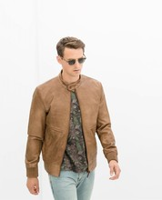 2014 ZA Spring Autumn Vintage Tan Brown Men's Genuine Leather New Slim Thin Leather motorcycle Bomber Biker Jacket 0706/312(China (Mainland))