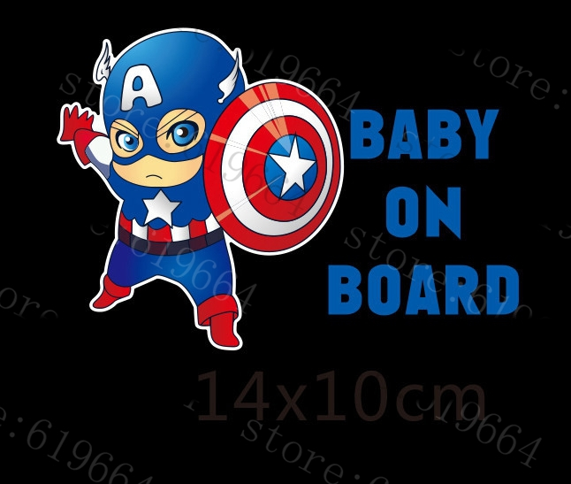 Reflective Car Decoration Superheroes Baby On Board Car Stickers And Decals case for Volkswagen Skoda Honda