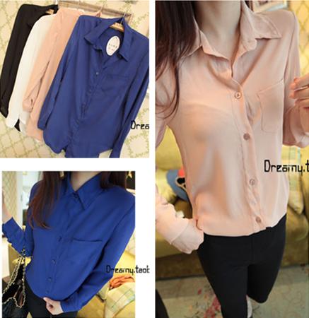 Shirt female long-sleeve plus size women chiffon shirt top cardigan short design single breasted solid color summer elegant - love0136 store