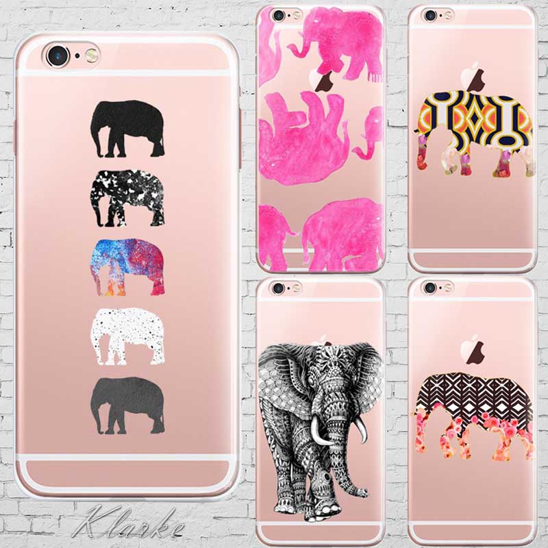Art Print Five Elephants Case Cover For Iphone 6 6s Transparent Silicone Cell Phone Cases(China (Mainland))