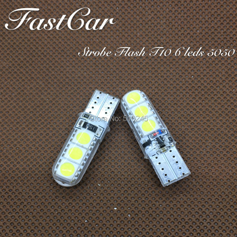 100x High quality car led Strobe flash flashing lamp 194 W5W 6SMD T10 wedge 5050 6 leds SMD white blue yellow green red(China (Mainland))