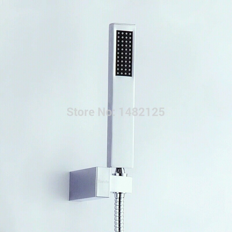 Free Shipping Square Style Brass Hand Shower Head & Wall Bracket & Shower Hose(China (Mainland))