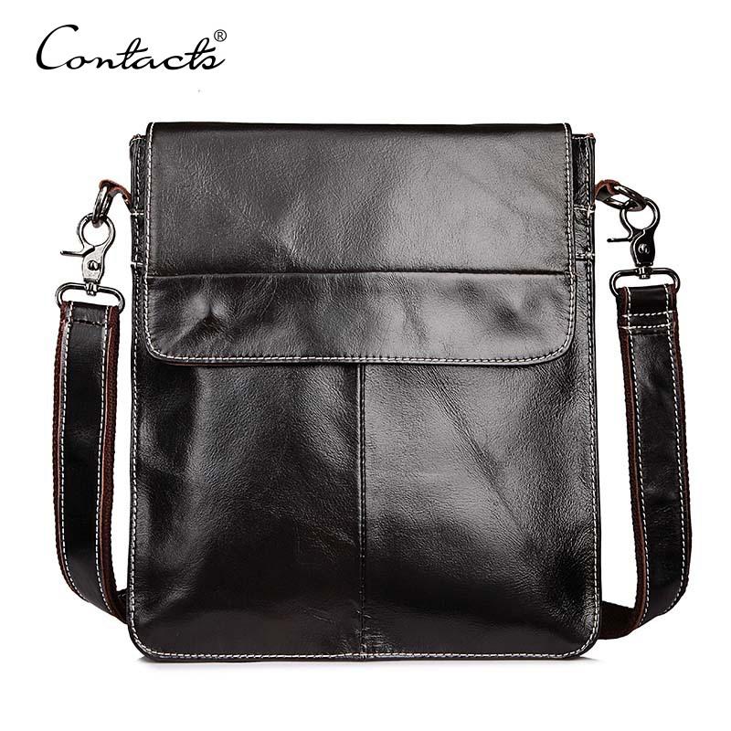 NEW Arrival Men Bag Men Messenger Bags Dark Brown Crossbody Shoulder Men's Business Bag Genuine Leather Bags Male Free Shipping(China (Mainland))