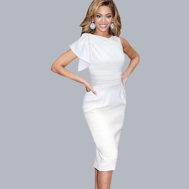 2015 Casual Women Dresses Celebrity Elegant Ruffle Sleeve Ruched Party Dress Prom Fitted Stretch Wiggle Pencil Sheath Dress(China (Mainland))