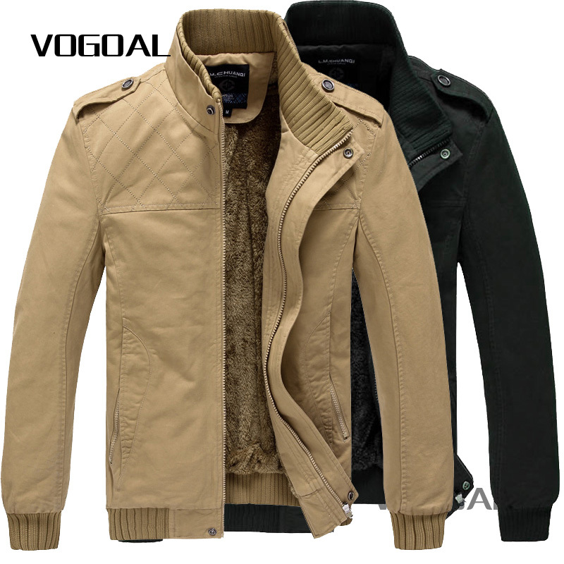 Mens Jackets Coats Casual Man Jacket Khaki,Military Color Fur Lining Warm Outwears New 2014 Thicken 629 - VOGOAL FASHION store
