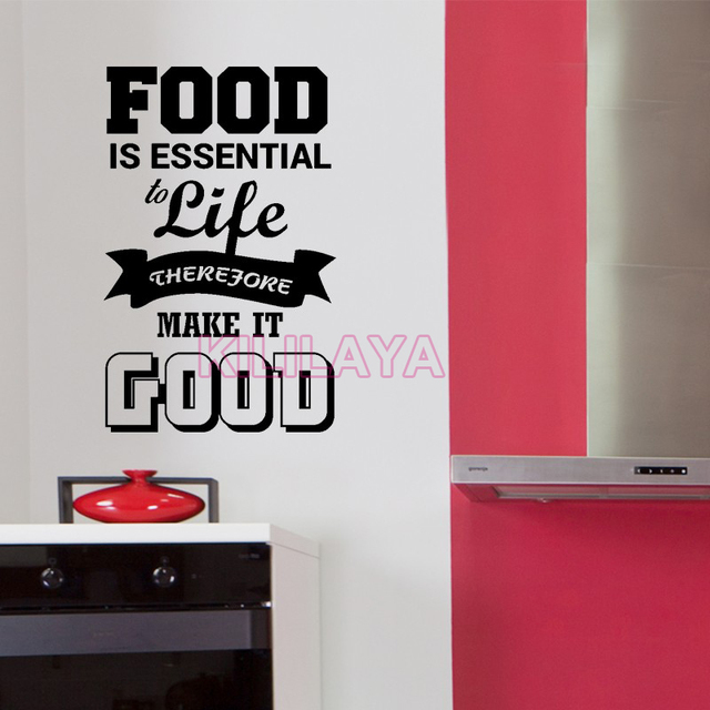 kitchen stickers cuisine vinyl wall sticker decals food is essential kitchen wallpaper mural. Black Bedroom Furniture Sets. Home Design Ideas