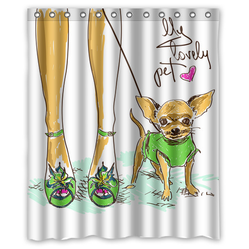 Fashion Designed legs of fashion girl and little chihuahua Polyester Fabric Shower Curtain 60 x 72(China (Mainland))