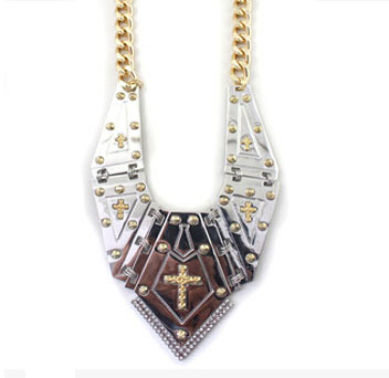 Fashion Jewelry High Quality Bright Church Gold Color Alloy Cross Statement Necklace for Women(China (Mainland))