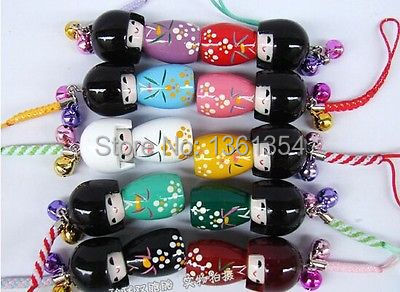 Free shipping LOT 10 Pcs KOKESHI Doll Handbag/ Mobile Phone charms/4.5cm(China (Mainland))