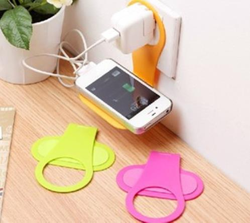 Convenient Mobile Foldable Designed Cell Phone Holder Wall Charger Hanger Charging Rack Shelf(China (Mainland))