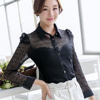 2014 new fashion  female chiffion blouse autumn shirt l long-sleeve lace chiffon blusas