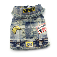 Spring Autumn Jeans Dog Clothes Denim Dog Coat Cowboy Pet Puppy Dog Jacket small Medium Large dog clothes Vest XS S M L XL XXL(China (Mainland))