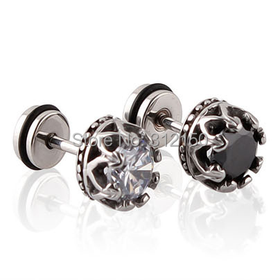 2pcs Stainless Steel Earring Studs Mens Earrings with round Zirconia Royal Crown Stud Earrings Black Silver(China (Mainland))