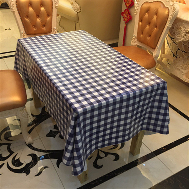 Europe waterproof table cloth grid plastic PVC tablecloth No-clean oilproof dining table dust cover for party home decorative(China (Mainland))