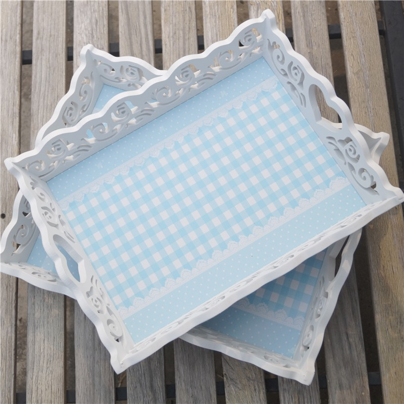 Wooden Fresh Look Sky Blue Handmade Wooden Rose Lace Serving Tray Crate Country Tray Apple Crate Tray(China (Mainland))