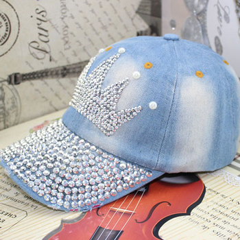 Women's fashion crown rhinestone pearl baseball cap Female casual denim hat for summer Free shipping