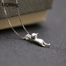 Buy 925 Sterling Silver Necklaces Cats Pendants&Necklaces Pure Sterling Silver 925 Kitty Necklace Jewelry Collar Colar de Plata for $3.59 in AliExpress store