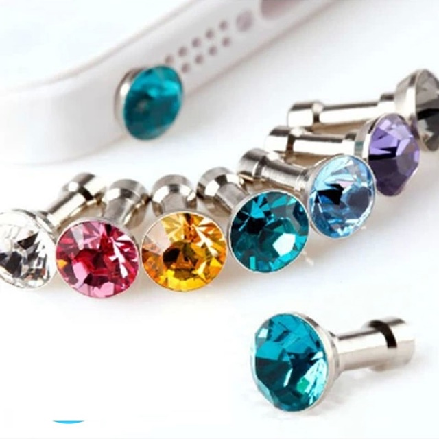 5pcs/lot Crystal Bling Metal Anti Dust Plug 3.5mm Cell Phone Earphone Plug for iPhone Samsung Galaxy HTC Freeshipping(China (Mainland))