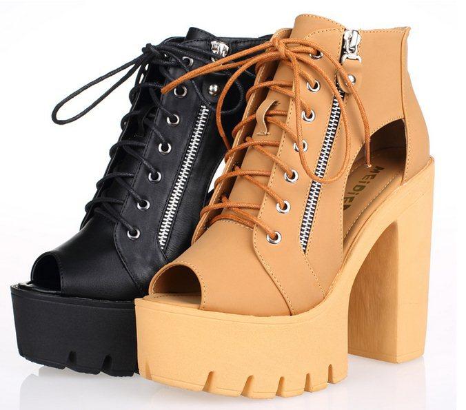 F6016 Spring &amp; Summer Womens Fashion Zip Gladiator Peep Toe Thick Heel Platform Cutout High Top Sandals 2015 Size 35-40<br><br>Aliexpress