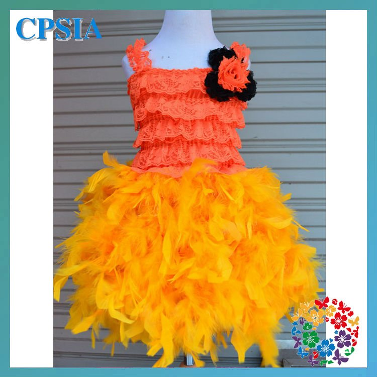 2012 Orange Feather Dress with flowers For Baby Girls -3pcs/lot(China (Mainland))
