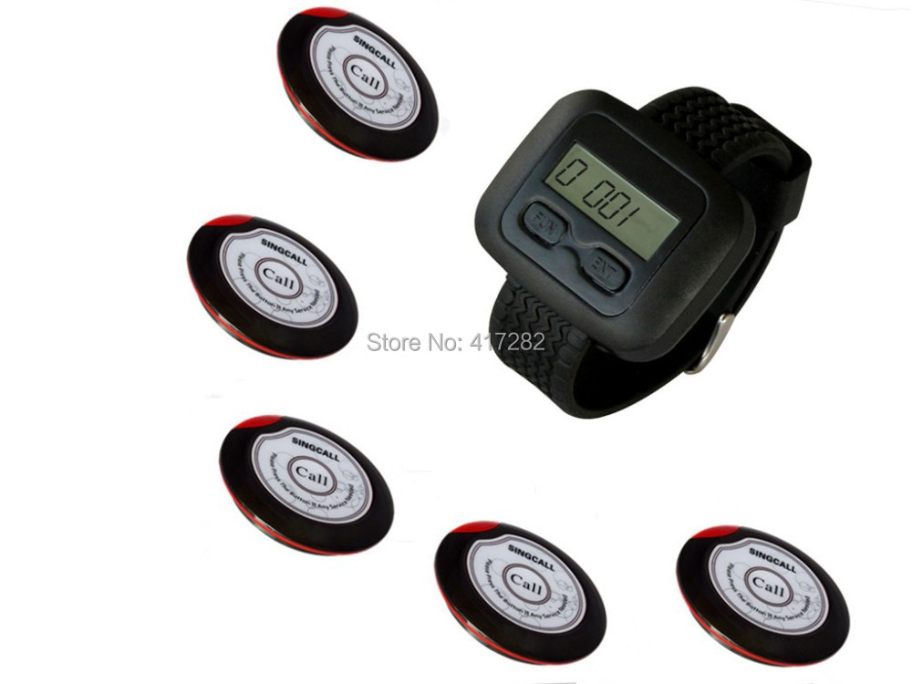 wireless waiter pager system for restaurant,supermarket and so on,5pcs of table button and 1 pc of wrist watch reciever(China (Mainland))