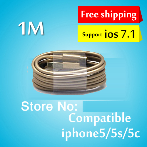 [GOLD WHITE] 1M micro usb cable data sync charger mobile phone power cord case for APPLE IPhone 5 5s 6 plus for ios 8 ipad mini(China (Mainland))